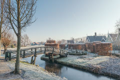 Beautiful garden and brisge cover with frost Royalty Free Stock Photo