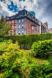 Beautiful garden and buildings in Boston, Massachusetts. Stock Images