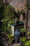 Beautiful Garden in Chester the county city of Cheshire in England. Even in the busy city of Chester there are tiny and beautiful gardens to be found in hidden royalty free stock photos