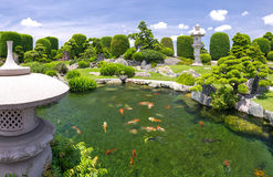 Beautiful garden in the ecotourism is designed in harmony. With many cypress, pine, stone, water and ancient trees bearing the traditional culture of Royalty Free Stock Photography