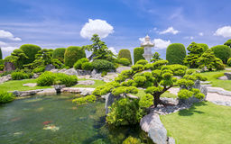 Beautiful garden in the ecotourism is designed in harmony. With many cypress, pine, stone, water and ancient trees bearing the traditional culture of Stock Images