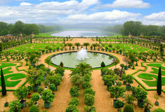 Beautiful garden with fountain Stock Photo