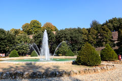 Beautiful Garden and Fountain in Siena Royalty Free Stock Photo