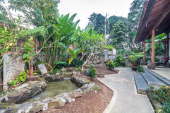 Beautiful Garden and fountain villa hotel Stock Photo