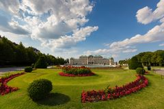 Beautiful garden in front of water basin and south facade of the Belvedere palace in Vienna, Austria stock photo