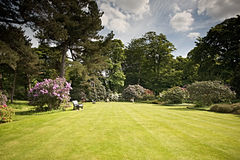 Beautiful garden with green lawns Royalty Free Stock Photography