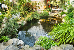 Beautiful garden with Japanese carps in the pool Royalty Free Stock Photos
