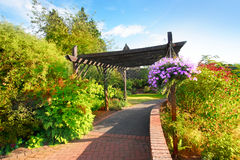 Beautiful garden in the park. With wooden pergola Stock Photography