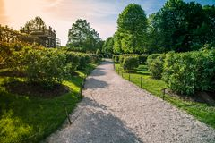 Beautiful garden path. A verdant garden and path at sunset Royalty Free Stock Photography