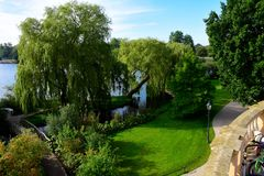 Garden next to the Schweriner Sea in Germany Royalty Free Stock Photography