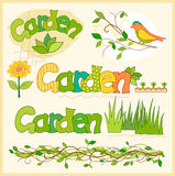 Beautiful garden set of elements for design Royalty Free Stock Photo
