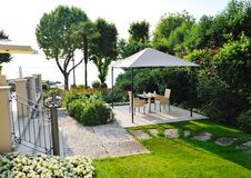 Beautiful garden in a villa on Garda Lake Stock Images