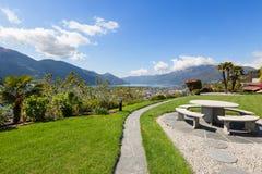 Beautiful garden of a villa royalty free stock photos
