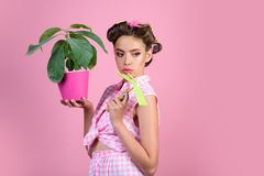 Beautiful gardener. pinup girl with fashion hair. pretty girl in vintage style. pin up woman with trendy makeup. spring. Greenhouse worker or gardener. retro stock image