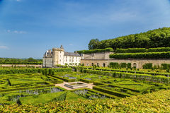 The beautiful gardens of the castle of Villandry, France Royalty Free Stock Photography
