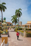Beautiful gardens of Plaza Mayor in Trinidad Stock Images