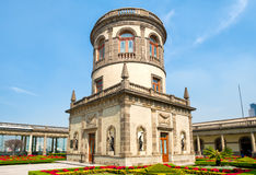 Beautiful gardens and tower on top of Chapultepec Castle in Mexico City Royalty Free Stock Photo