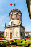 Beautiful gardens and tower on top of Chapultepec Castle in Mexico City Stock Image