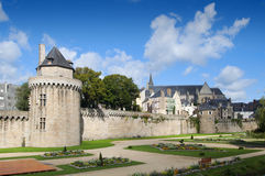 Beautiful gardens and walls in Vannes, Brittany. On a sunny day Stock Images