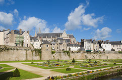 Beautiful gardens and walls in Vannes, Brittany. On a sunny day Stock Image