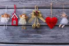 Beautiful garland with Christmas toys. Royalty Free Stock Photography