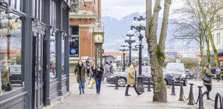 Beautiful Gastown district in Vancouver - the historic old town - VANCOUVER - CANADA - APRIL 12, 2017 Stock Photo