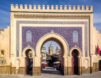 Beautiful gate, entrance to medina of Fez, decorated with traditional Arabic mosaics, Morocco. Beautiful gate, entrance to the medina of Fez, decorated with Royalty Free Stock Photography