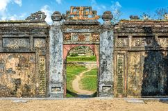 A beautiful gate in the famous forbidden purple city in Vietnam stock images