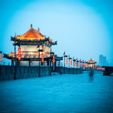 Ancient gate tower on city wall in xian Stock Images