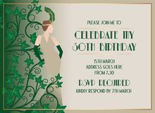 Beautiful Gatsby Art Deco Style Birthday Invitation Design. Beautiful Elegant Gatsby Art Deco Style Birthday Invitation Design with Woman Silhouette and Green Royalty Free Illustration