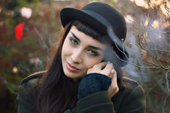 Beautiful gaze from autumn dressed woman Stock Images
