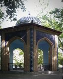 Beautiful gazebo in autumn park. Original brickwork. Royalty Free Stock Photography