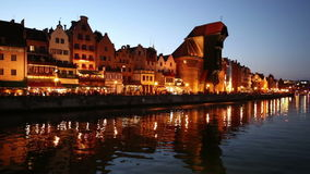 Beautiful Gdansk Cityscape, Krantor, Motlawa River, Old Ship, Medieval Town stock video