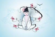 Beautiful geisha. Illustration with snake background Royalty Free Stock Image