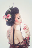 Beautiful geisha. Royalty Free Stock Photo