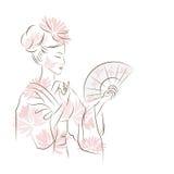 Beautiful Geisha girl. Royalty Free Stock Images