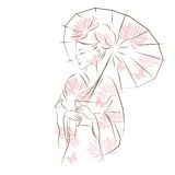 Beautiful Geisha girl. Asian woman with sun umbrella. Oriental style painting. Hand drawing illustration with beautiful oriental woman. Vector isolated on white Royalty Free Stock Photo