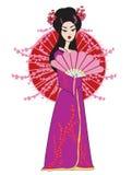 Beautiful geisha girl in kimono Stock Photography