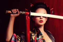 Beautiful geisha in kimono Royalty Free Stock Images