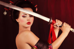 Beautiful geisha in kimono Royalty Free Stock Image