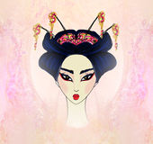 Beautiful geisha  Portrait Royalty Free Stock Photography