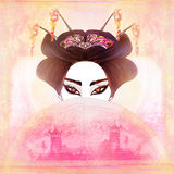 Beautiful geisha Portrait. Abstract Beautiful geisha Portrait - raster Royalty Free Stock Image