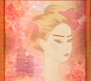 Beautiful geisha Portrait. Abstract Beautiful geisha Portrait - raster Stock Image