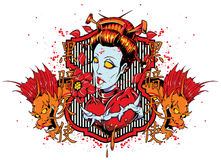 Beautiful geisha. Vector illustration ideal for printing on apparel clothes Royalty Free Stock Photography