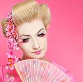 Beautiful Geisha With Fan Royalty Free Stock Photo