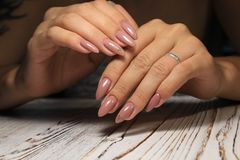 beautiful gel lacquer manicure stock photography
