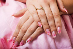 Beautiful gel nails. Royalty Free Stock Photography