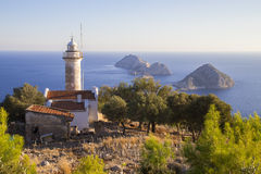 Beautiful Gelidonya lighthouse in Adrasan Antalya Turkey 2014 Royalty Free Stock Images