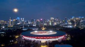 Beautiful Gelora Bung Karno at night time. Beautiful aerial view of football stadium of Gelora Bung Karno at night time in Jakarta, Indonesia Royalty Free Stock Photos
