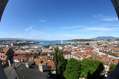 Beautiful Geneva. View of Geneva with Lake Geneva's fountain in the background shot with a fish eye Royalty Free Stock Photos